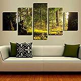 Diy 5D pintura de diamante paisaje natural dibujo de diamante pintura al óleo cartel bosque verde planta foto arte de pared imagen 5 piezas set sala de estar decoración del hogar