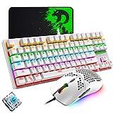 Teclado mecánico para juegos, mouse de juego ultraligero programable 6400DPI, juego de almohadillas para ratones, teclado blanco con cable 87 teclas, retroiluminado RGB, para juegos o trabajo