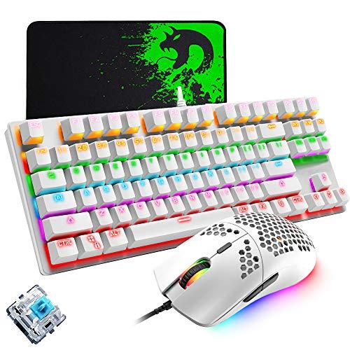 Mechanische Gaming-Tastatur, programmierbare, ultraleichte, mit Wabenkohle verkabelte 6400DPI-Spielmaus, Mäuse-Pad-Set, blaue, kabelgebundene weiße Tastatur mit 87 Tasten, RGB-Hintergrundbeleuchtung