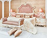 Casa Padrino Conjunto de Dormitorio Barroco Rosa/Blanco/Crema/Cobre - 1 Cama Doble con Cabecero y 2 Mesitas de Noche y 1 Banco - Muebles de Dormitorio barrocos - Noble & Magnífica