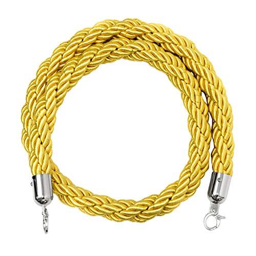 H HILABEE Cuerda Trenzada de 6.6/9.8 Pies - Barrera de Cuerda de Control de Multitudes Gruesas con Clips de Metal Pulido para Puntales de Bola