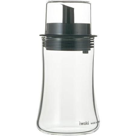 iwaki(イワキ) 耐熱ガラス 調味料入れ オイルボトル オイル差し ブラック S 120ml フタ付き KT5031-BKO