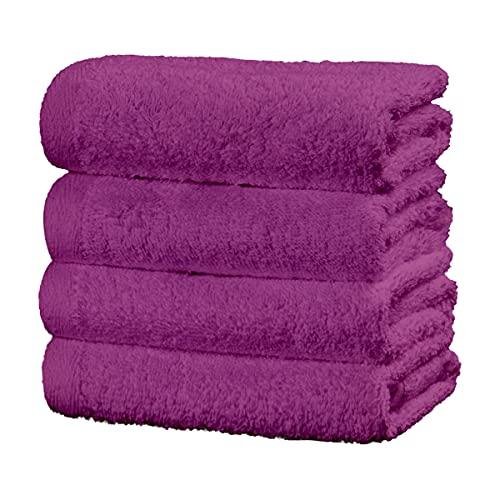 Viste tu hogar Juego de 4 Toallas Hechas 100% de Algodón,30x50 cm, Suaves y Absorbentes, Ideales para Uso Diario y Decoración, en Color Púrpura.