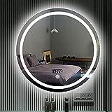 FMOGE Espejo De Pared Redondo con Led, Espejo De Afeitar para Baño Iluminado, Retroiluminado Sin Marco,Botón Táctil