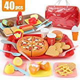 Sotodik 40PCS Jugar Food Pretend Play Fast Food Toys Set Cutting Pizza Hamburger Fruit Playset para niños pequeños Niños Niños Niñas Juguetes