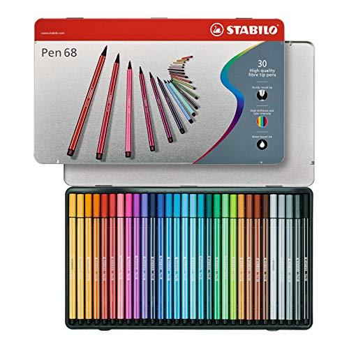 Pennarello Premium - STABILO Pen 68 - Scatola in Metallo da 30 - Colori assortiti
