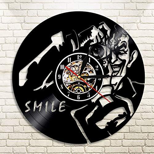 YINU 1 Pieza Tomar Foto retroiluminación LED Joker Sonrisa Vinilo Reloj de Pared LP Vintage decoración del hogar Regalo Hecho a Mano para fotógrafo