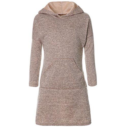 BEZLIT Mädchen Pullover Kleid Long Tunika Langarm Kapuze 21579 Beige Größe 104