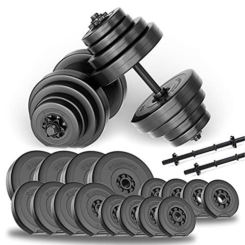 SAPPHIRE Kurzhanteln 2er Set Kunststoff 40kg Hantelstangen Gewichte Gewichtsscheiben Hanteln Kurzhantelstangen gerändelt Sternverschlüsse 30/31mm Übung 2x20