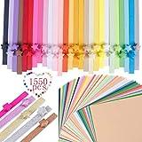 1370 hojas 2 estilos 32 colores Origami estrellas tiras de papel luminoso y purpurina Set de papel y 50 hojas de doble cara cuadrado papel 6 x 6 pulgadas con 50 colores para niños, manualidades