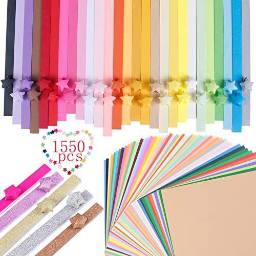 1370 hojas 2 estilos 32 colores Origami estrellas tiras de papel luminoso y purpurina...