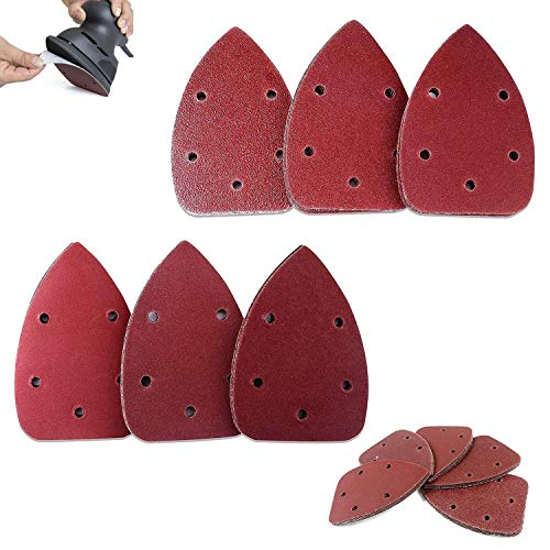 VINAUO 50pcs Mouse Sandpaper Mouse Sander Pads 80 Grits Assorted Sanding Paper Hook and Loop 5-Hole Mouse Detail Sander for 140mm Sanding Machine