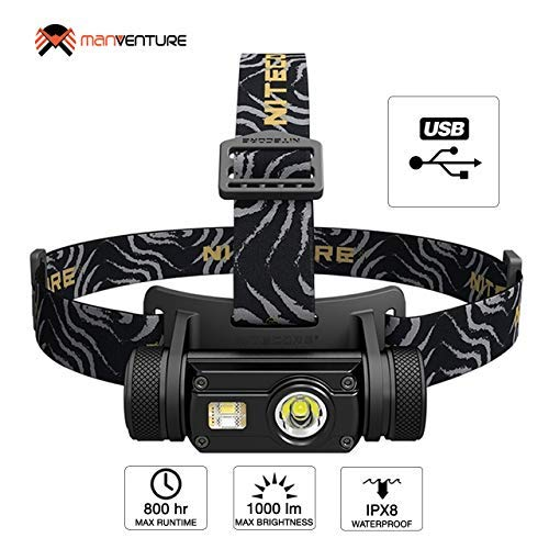 Nitecore HC65 Head Torch USB Rechargeable 1000 Lumens Plus Red Light ([ Rechargeable Battery Included ])
