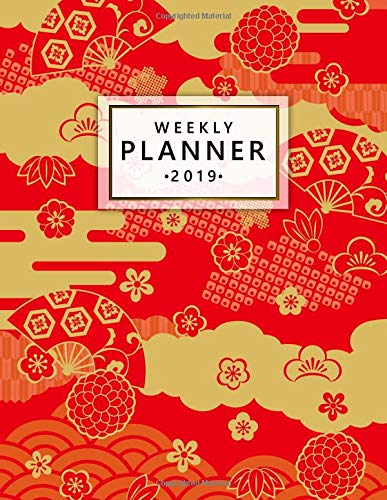 Weekly Planner 2019: Pretty golden red clouds Japanese oriental 2019 planner and organizer with weekly views, inspirational quotes, to-do lists, funny holidays and more.