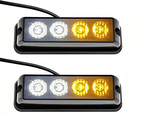 2 barres lumineuses LED d'urgence clignotantes Anzeme - 12 ou 24 V - Pour camion, remorque, caravane, van, tracteur, camping-car