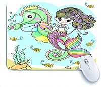 Mabby ゲームオフィスのマウスパッド,Cute mermaid riding a seahorse,Non-Slip Rubber Base Mousepad for Laptop Computer PC Office,Cute Design Desk Accessories