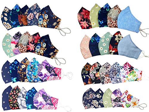 5 PACK Fashionable Cloth Cotton Face Mask, Women Face Coverings/Double Layers with Filter Pocket and Nose Wire/READY TO SHIP/Adjustable Ear loops/Reusable & Washable - Made in USA [ PACK OF 5)