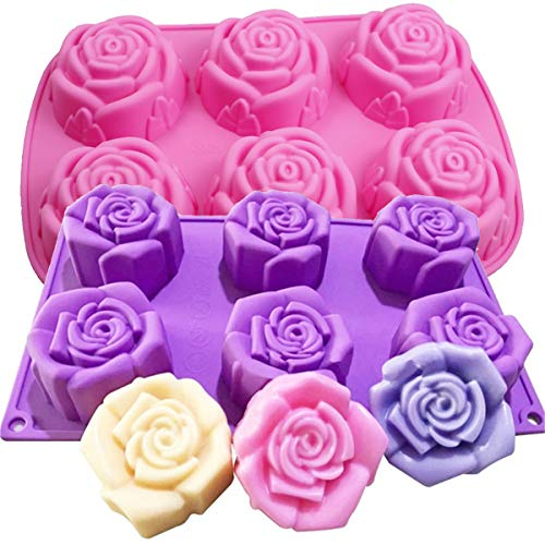 2 Pcs Silicone Cake Pastry Moulds 6 Cavity Rose Flower Shaped Baking Mold with 6 Cavity for Soap, Jelly, Biscuit, Muffin, Dessert, Mini Bread