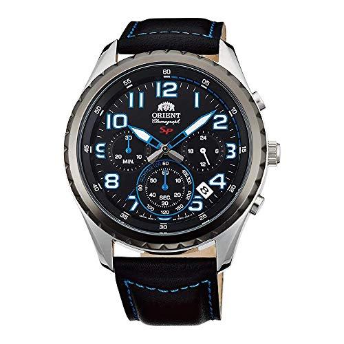 Orient Herren Chronograph Quarz Uhr mit Leder Armband FKV01004B0