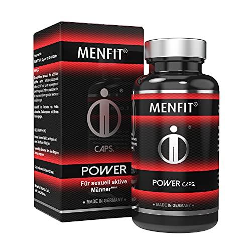 MENFIT® Power Caps - Spezielle Formel mit Tribulus terrestris, Maca, Selen, Cordyceps sinensis, Ashwagandha, Ingwer, Vitamin C, Zink,Made in Germany