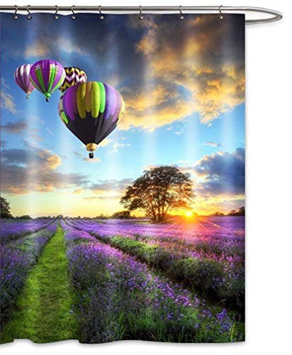 Purple Lavender Shower Curtain Sets Colorful Hot Air Balloon Sunset Countryside Fields Landscape Beige Gray Clouds Waterproof Bath Decor-Purple Yellow