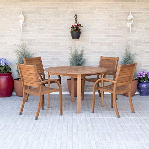 Amazonia Arizona 5 Piece Round Patio Dining Set | Eucalyptus Wood | Ideal for Outdoors and Indoors, Light Brown