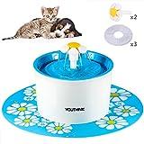YOUTHINK Fuente de Agua para Gato, Dispensador de Agua para Mascotas, Bebedero Automtico 1.6 L para Gatos Perros Pequeos y Aves con Bomba Silenciosa, 3 Filtros, 2 Flores y 1 Tapete de Silicona (cat toy)