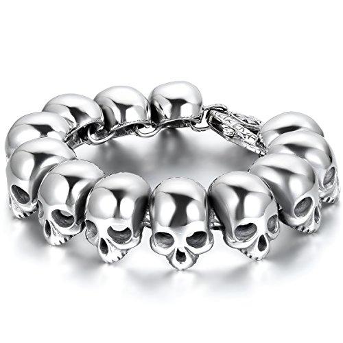 JewelryWe Schmuck Herren Armband, schwer groß breit Edelstahl Biker Gotik Totenkopf Schädel Armreif, Silber