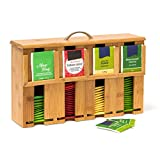 Relaxdays Caja para Bolsitas de Té, Bambú, Marrón, 22 x 33 x 10 cm