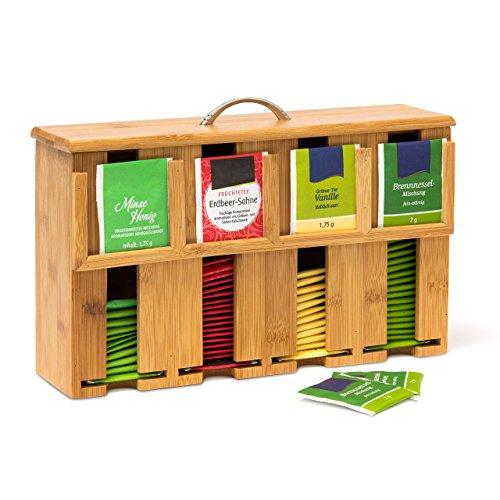 Relaxdays Teebeutelspender aus Bambus H x B x T: 22 x 33 x 10 cm Teebox für ca. 160 Teebeutel Teekiste mit abnehmbarem Deckel samt Griff Teebeutelbox mit 4 Fächern und Halter Teekasten Holz, natur