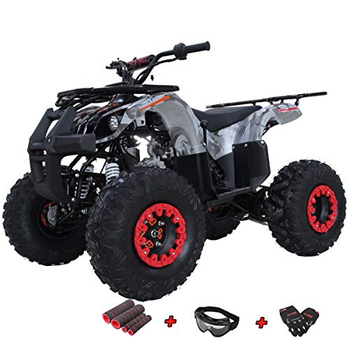 "X-PRO Hawk 125 ATV Quad Youth 125cc ATV 4 Wheelers Youth 4 Wheeler ATVs Big Boys ATVs Quads Big 19""/18"" Tires with Gloves, Goggle and Handgrip (Black Camo)"