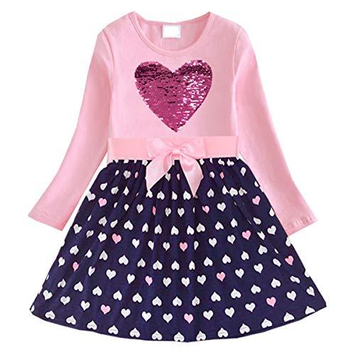DXTON Mädchen Kleider Pailletten Muster Frühling Sommer Kleidung Party Kids Trägerklei Herz5740, Herz5740, 7-8 Jahre