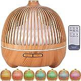 VIPNAJI Humidificador ultrasónico y difusor de Aroma 550 ml.Ultra silencioso,Apagado Automático.Humidificador Aceites Esenciales con Control Remoto y LED de 7 Colores de para Hogar, Oficina, SPA, Bebé