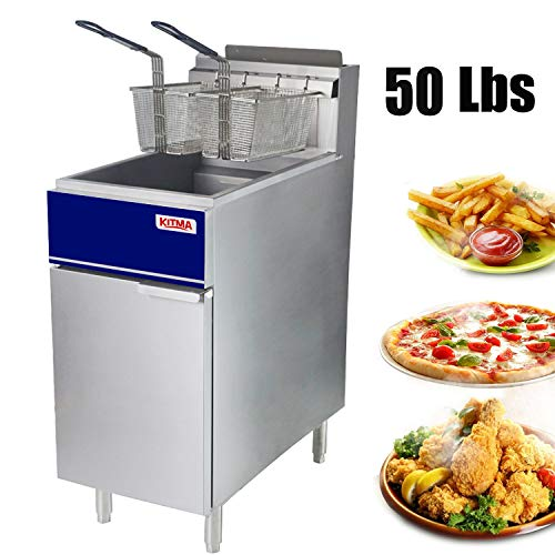 Premium Commercial Deep Fryer - KITMA 50 lb. Liquid Propane 4 Tube Floor Fryer with 2 Fryer Baskets - Restaurant Kitchen Equipment for French Fries, 120,000 BTU/h