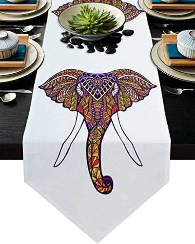 COMMER Camino de mesa, bufandas de elefante, decoración de mesa para bodas, ceremonias de graduación, banquete (33 x 228 cm)