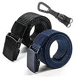 Cinturón de cintura de nylon táctico militar de la correa de los hombres del paquete 2 Cinturón de la correa de nylon al aire libre de 1.5 ' (Negro + Azul)