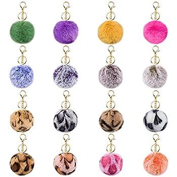 JOYYPOP 16 PCS Pom Poms Keychains Fluffy Faux Fur Colorful Pom Pom Balls for Girls Women  Leopard Mix Colors