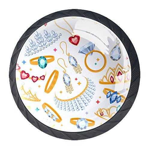 BestIdeas Round Drawer Knobs 4 Packs 30mm Pulls Handles Diamond Rings Earrings Pearl Gemstones Jewelry Prints Used for Bedroom Dresser Cabinet Cupboard Kitchen Door