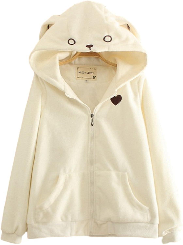 GKO Women Harajuku Rabbit Hoodie With Ears Zip Up Kawaii Lolita Sweatshirts