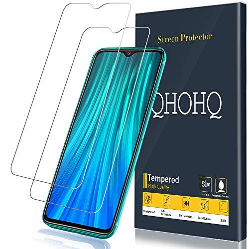 QHOHQ Schutzfolie für Xiaomi Redmi Note 8 Pro, [2 Stück] [9H Festigkeit] HD Transparent Anti-Kratzen [Blasenfrei] Panzerglas