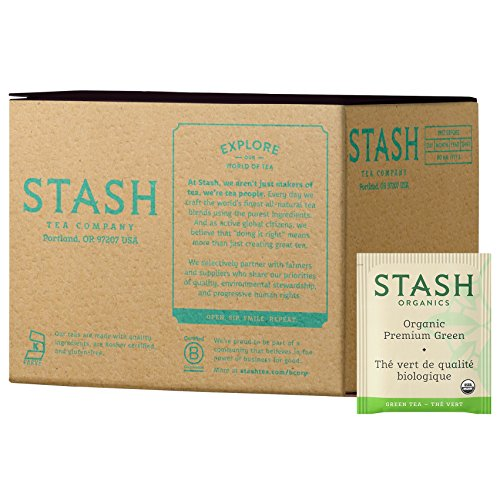 Stash Tea, Organic Premium Green Tea, 100 Count Box of Tea Bags Individually Wrapped in Foil, Medium Caffiene Tea, Japanese Style Green Tea, Hot or Iced