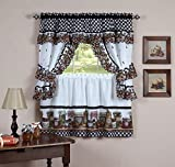 naturally home Mason Jars Kitchen Curtain Cottage Set, Tiers and Ruffled Swag, 24-Inch Long and Swag Top
