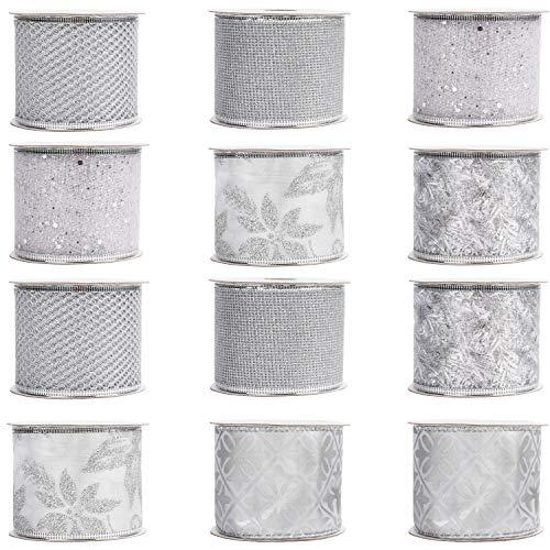 Belle Vous Cinta Organza Navidad (Pack de 12) 2,7 m x 63 mm de Ancho Cinta de Navidad Organza Blanca y Plateada Diseños Variados - Decoración Árbol de Navidad Cinta Organza Envolver, Moños, Regalos