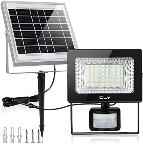 CLY Foco solar para exteriores 10W 1000LM con sensor de movimiento, reflector LED impermeable IP66 con 2 paneles solares ajustables para pasillo, patio, jardín