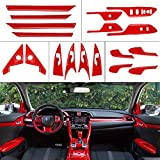XHQ for Honda Civic Door Interior Trims ABS Plastic Material Fit 10th Gen Civic 2016-2021 Inner Door Glass Switch Panel Door Switch Panel Armrest Panel Cover Red Style Accessories(18PCS)
