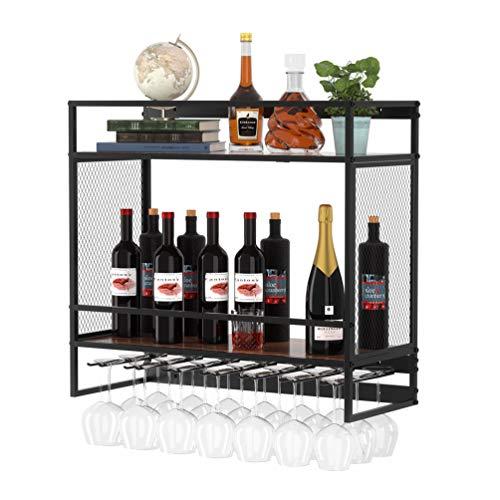 Dulcii Industrial Wine Racks X-Large Wall Mounted Wine Rack with 7 Stem Glass Holders and Mug Holder Hanging Wine Rack 2-Tier Wooden Shelves Wine Bottle Stemware Glass Rack for Kitchen Bar or Home