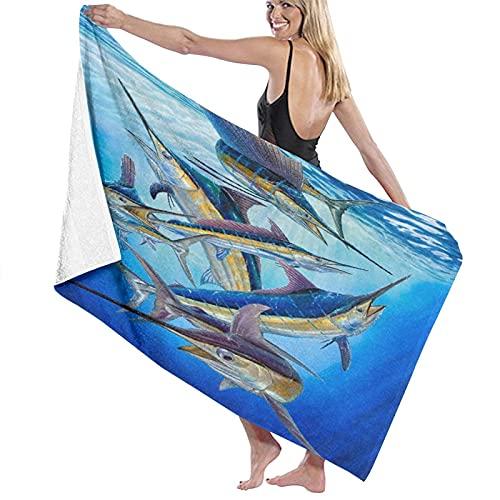 """Toallas de baño, Billfish White Marlin Sailfish Grand Slam Swordfish Marlin Spear Fish, Super Soft, Alto Absorbente, Manta de Toalla Grande para baño, Playa o Piscina, 52 """"x32 ✅"""