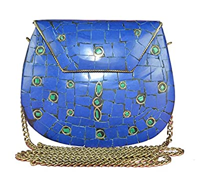 Eshopitude Gift Item Chipped Stone Metal Clutch Blue Onyx Gemstone With Shoulder Chain Brass Women's & Girl's Handbag/Clutch/Purse Pouch