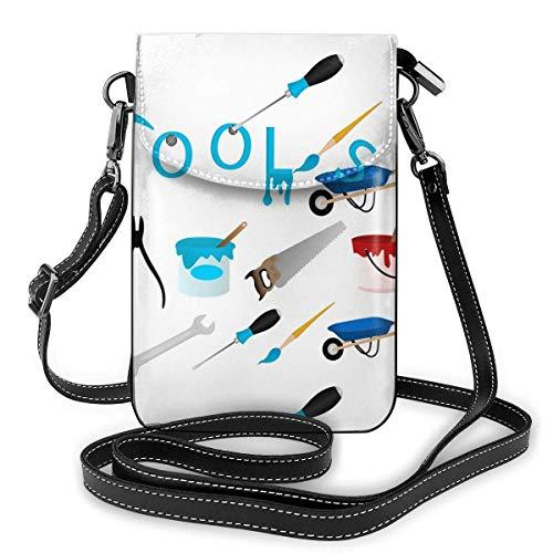 Bolso de mano de piel para teléfono, herramientas de mantenimiento pequeñas, bandolera, mini bolso de hombro para teléfono móvil para mujeres