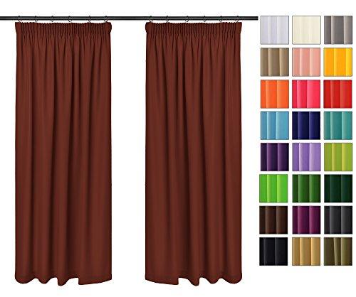 Rollmayer Vorhänge mit Bleistift Kollektion Vivid (Rostrot 30, 135x240 cm - BxH) Blickdicht Uni einfarbig Gardinen Schal für Schlafzimmer Kinderzimmer Wohnzimmer